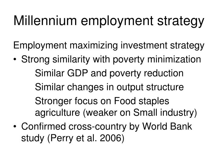 Millennium employment strategy