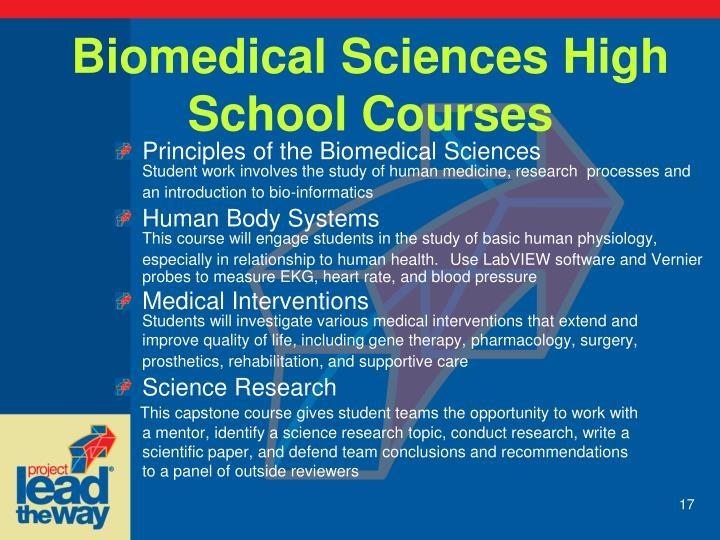 Biomedical Sciences High School Courses