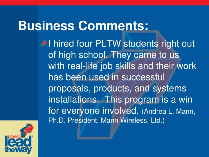 Business Comments: