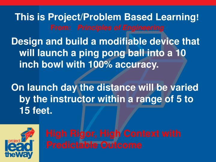 This is Project/Problem Based Learning
