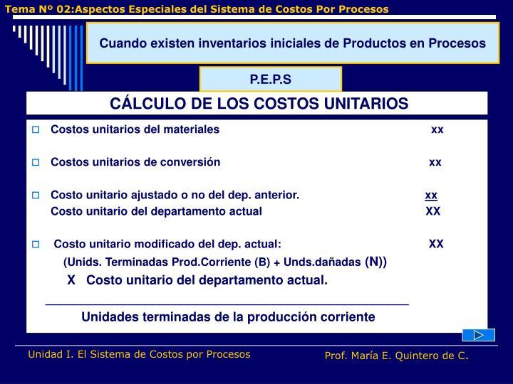 Costos unitarios del materiales                                                                  xx