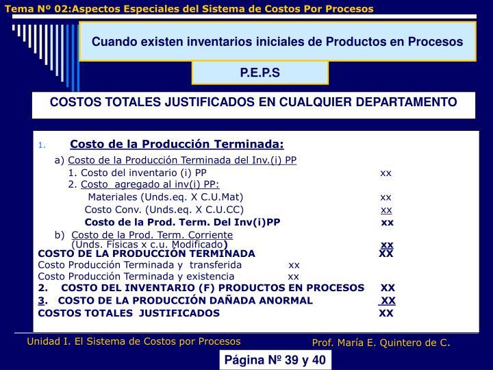 Costo de la Producción Terminada: