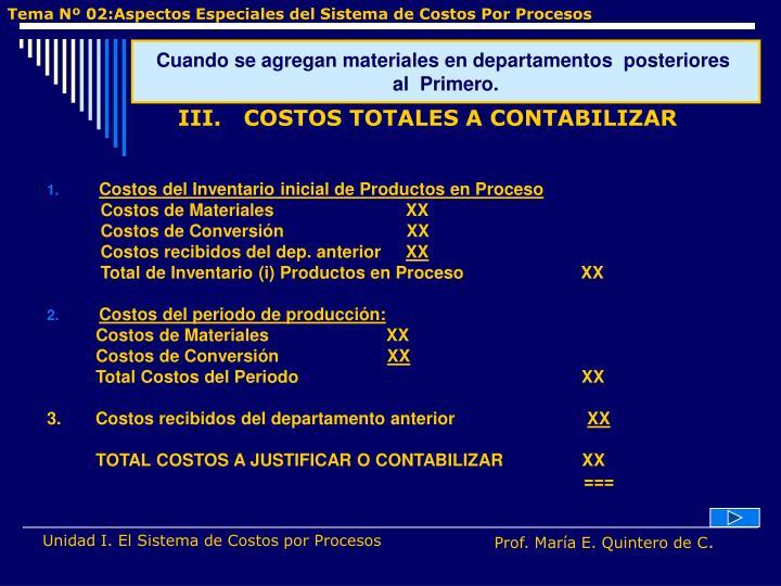 Costos del Inventario inicial de Productos en Proceso