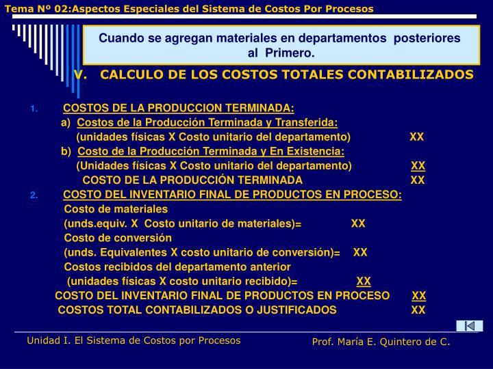 COSTOS DE LA PRODUCCION TERMINADA: