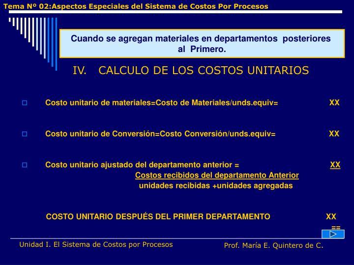 Costo unitario de materiales=Costo de Materiales/unds.equiv=                       XX