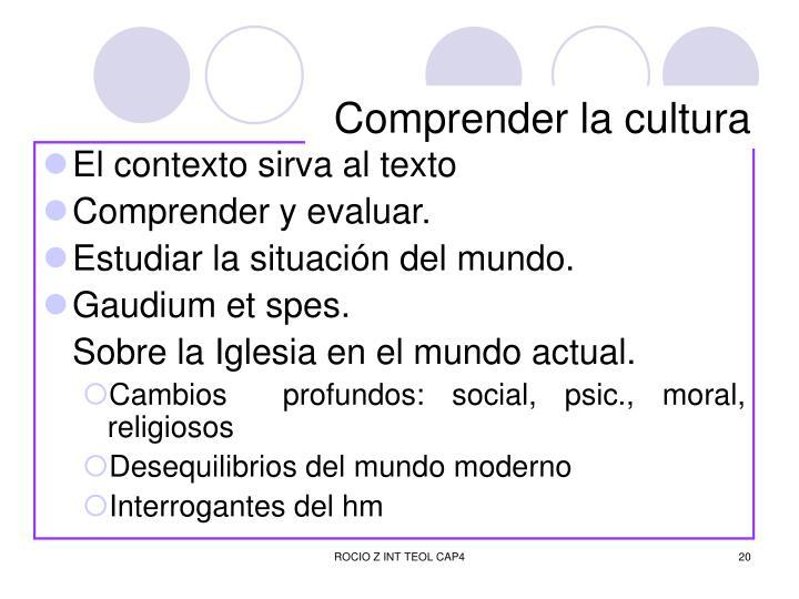 Comprender la cultura