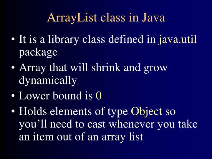 ArrayList class in Java
