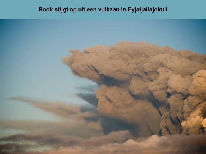 Rook stijgt op uit een vulkaan in Eyjafjallajokull