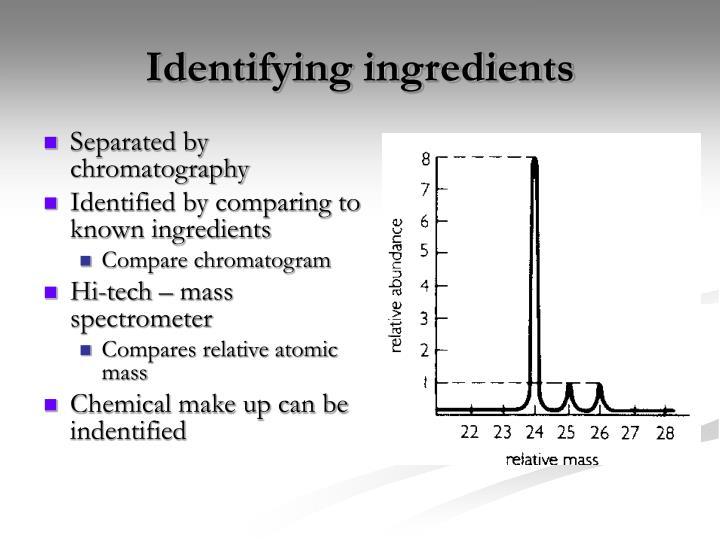 Identifying ingredients