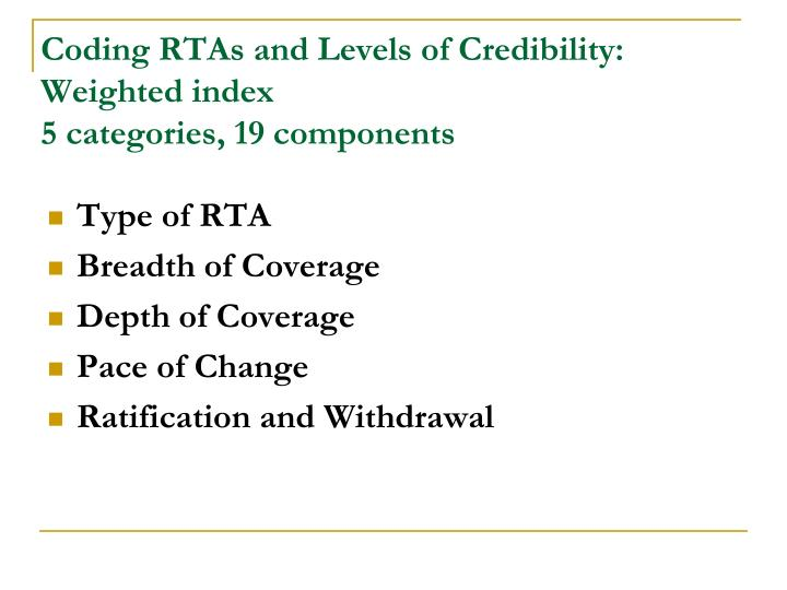 Coding RTAs and Levels of Credibility: