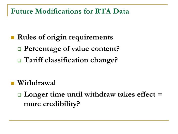 Future Modifications for RTA Data