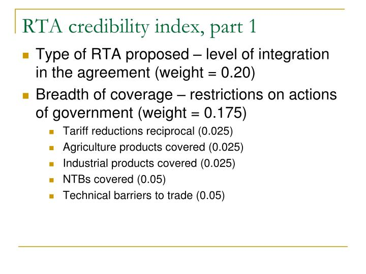 RTA credibility index, part 1