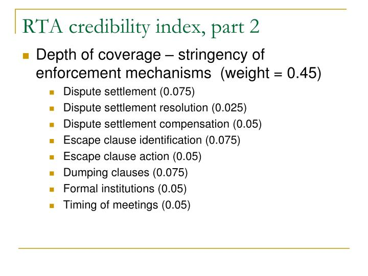 RTA credibility index, part 2