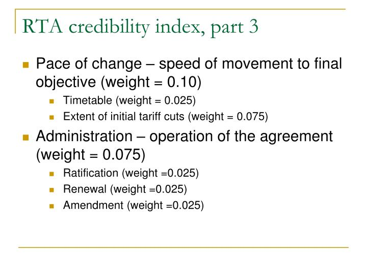 RTA credibility index, part 3
