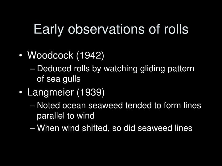 Early observations of rolls