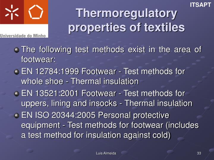 Thermoregulatory properties of textiles