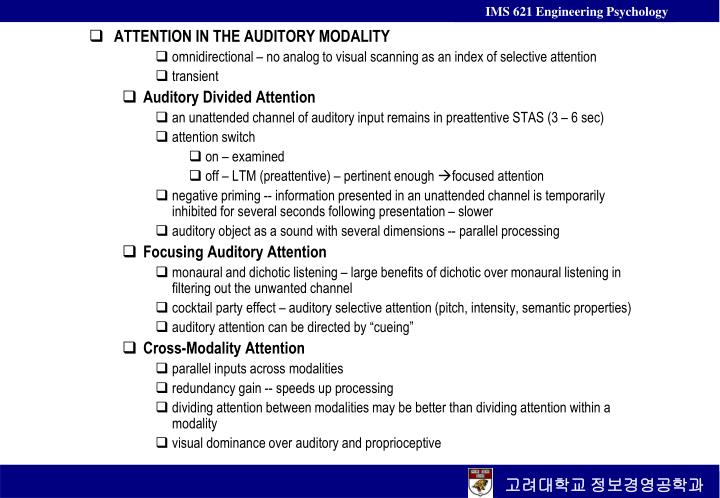 ATTENTION IN THE AUDITORY MODALITY