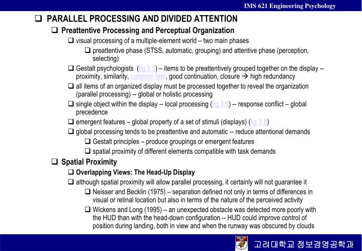 PARALLEL PROCESSING AND DIVIDED ATTENTION