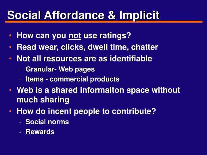 Social Affordance & Implicit