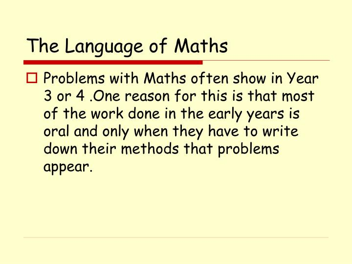 The Language of Maths