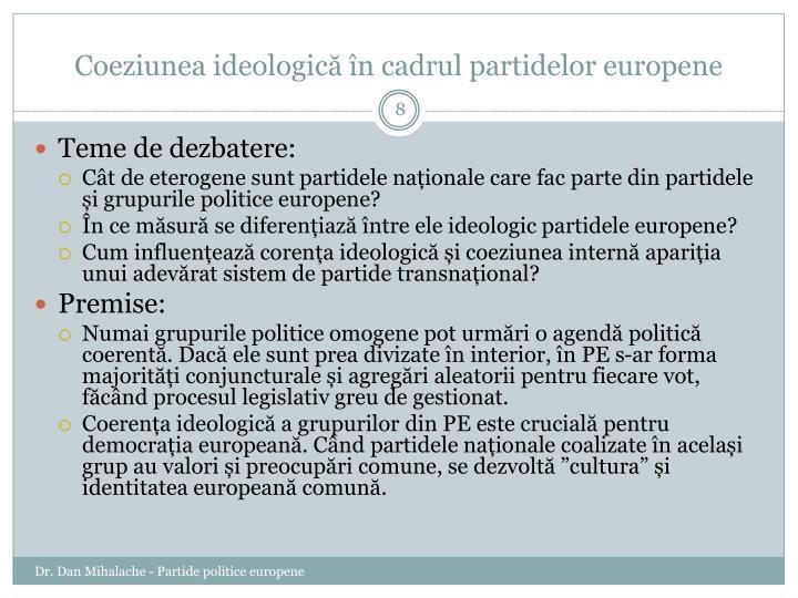 Coeziunea ideologică în cadrul partidelor europene