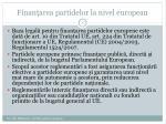 finan area partidelor la nivel european