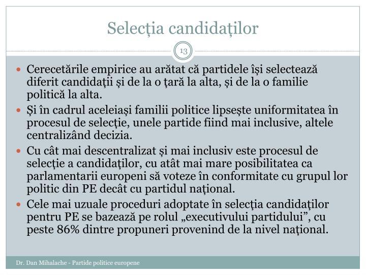 Selecția candidaților