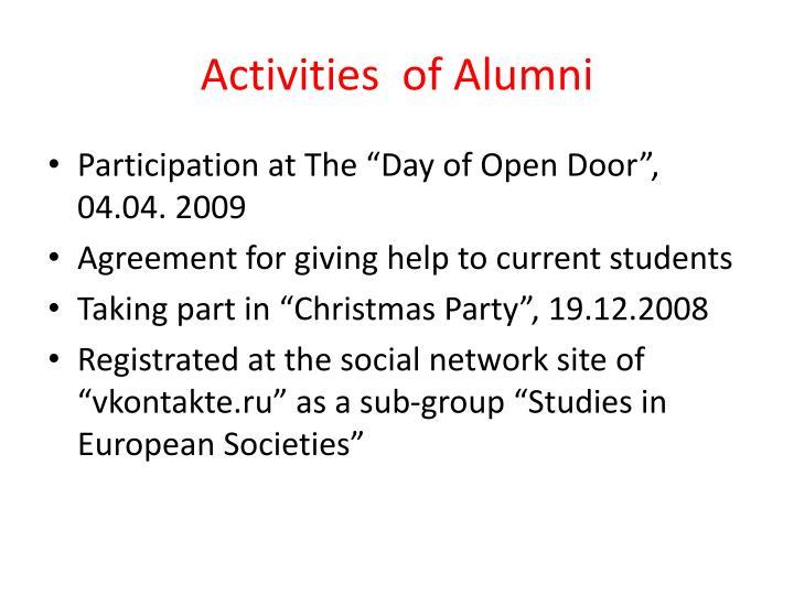 Activities  of Alumni