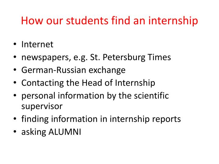 How our students find an internship