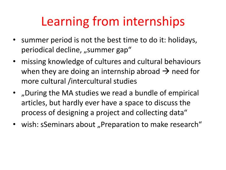 Learning from internships