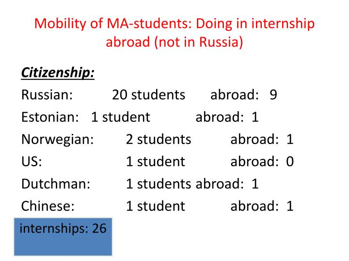 Mobility of MA-students: Doing in internship abroad (not in Russia)