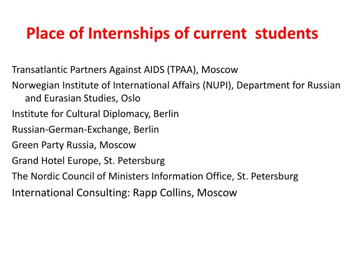Place of Internships of current  students