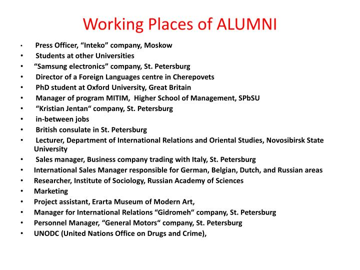 Working Places of ALUMNI