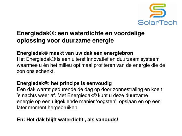 Energiedak®: een waterdichte en voordelige oplossing voor duurzame energie