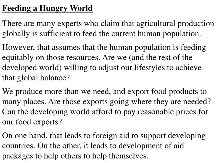 Feeding a Hungry World