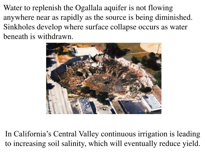 Water to replenish the Ogallala aquifer is not flowing anywhere near as rapidly as the source is being diminished. Sinkholes develop where surface collapse occurs as water beneath is withdrawn.