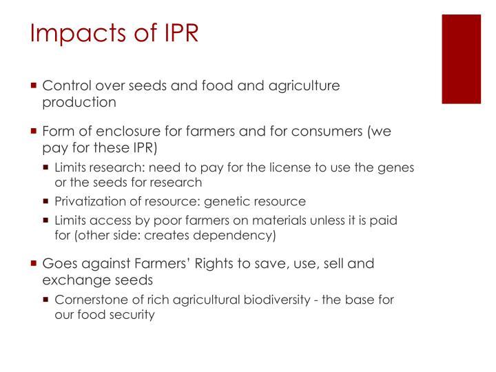 Impacts of IPR