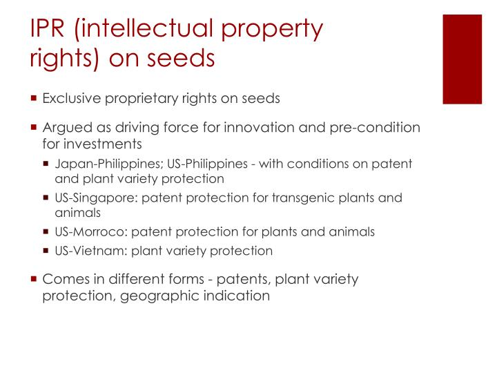 IPR (intellectual property rights) on seeds