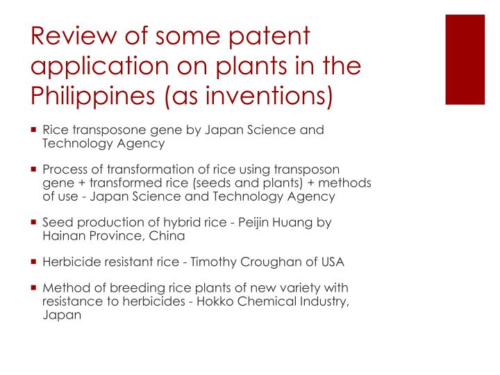Review of some patent application on plants in the Philippines (as inventions)