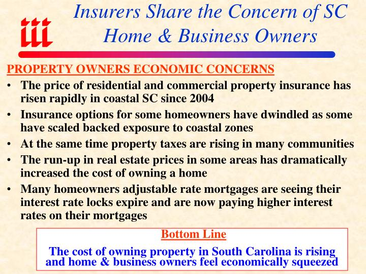 Insurers share the concern of sc home business owners