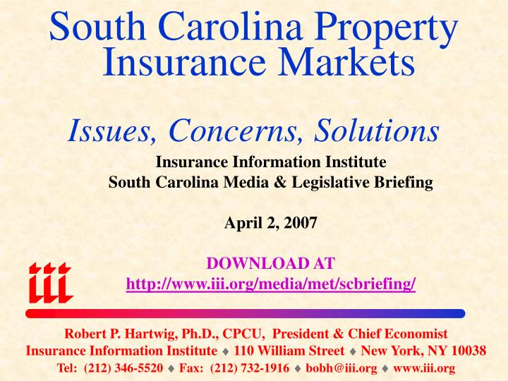 South carolina property insurance markets issues concerns solutions