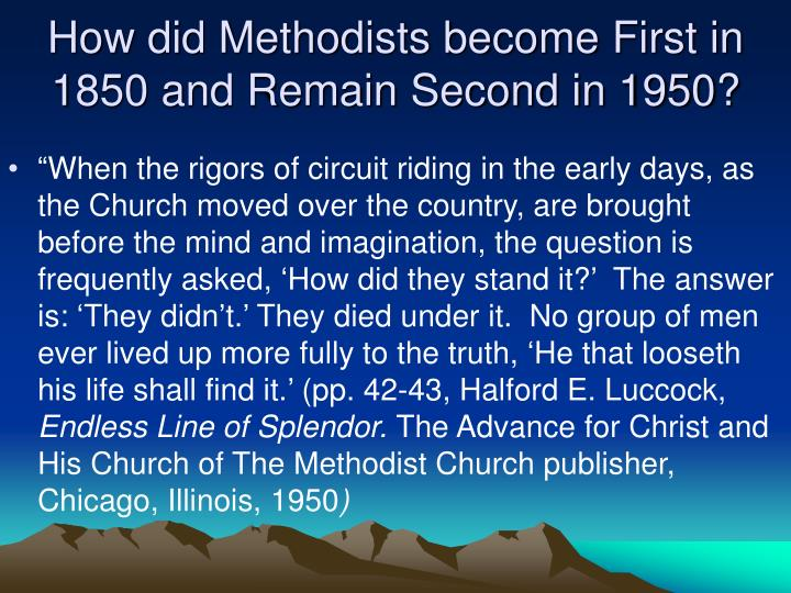 How did Methodists become First in 1850 and Remain Second in 1950?