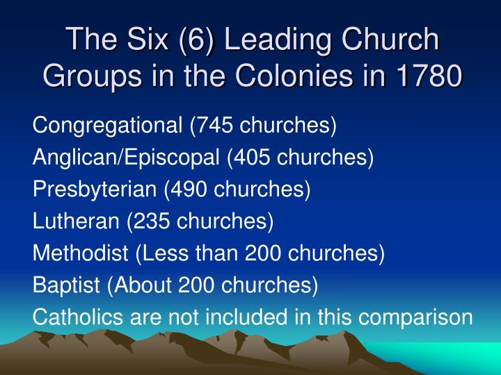 The Six (6) Leading Church Groups in the Colonies in 1780
