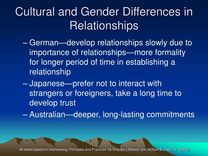 Cultural and Gender Differences in Relationships