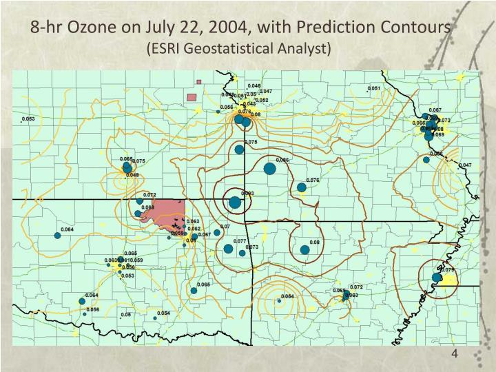 8-hr Ozone on July 22, 2004, with Prediction Contours