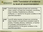 aan translation of evidence to level of recommendation