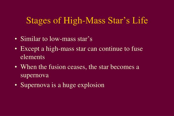 Stages of High-Mass Star's Life