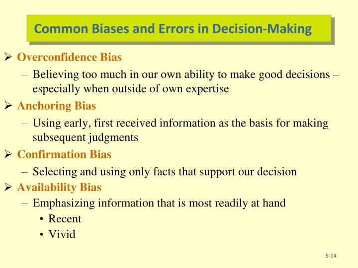 Common Biases and Errors in Decision-Making