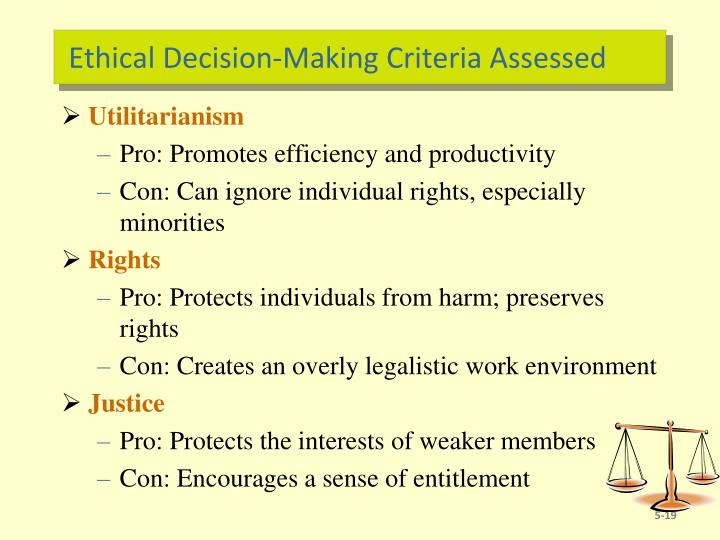 Ethical Decision-Making Criteria Assessed