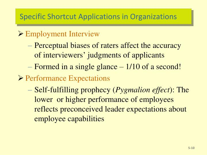 Specific Shortcut Applications in Organizations